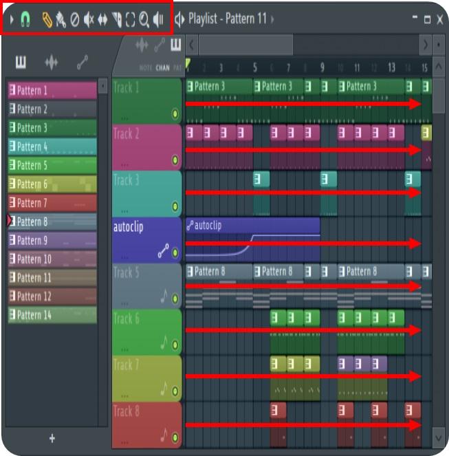آموزش موسیقی نرم افزار اف ال استودیو (Fl studio) ساختار پلی لیست از ردیف هایی تشکیل شده که به هر کدام یک ردیف می گوییم