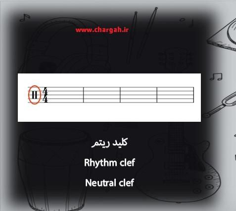 نت خوانی کلید ریتم برای درام و پرکاشن neutral clef Rhythm clef