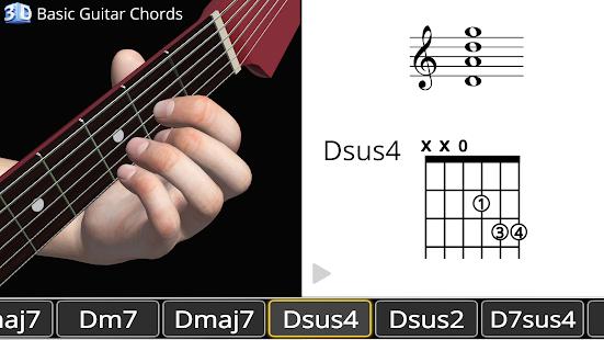 آکوردهای گیتار به صورت سه بعدی با اپلیکیشن - guitar 3D basic chords برای اندروید و ios