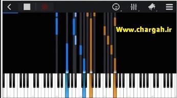 اپلیکیشن آموزش پیانو با گوشی Perfect piano قابلیت ارائه ی نت ها روی پیانو رول