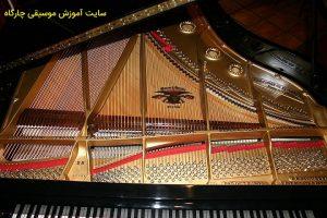 درپوش پیانو رویال و سیم ها و اجزای داخلی آن
