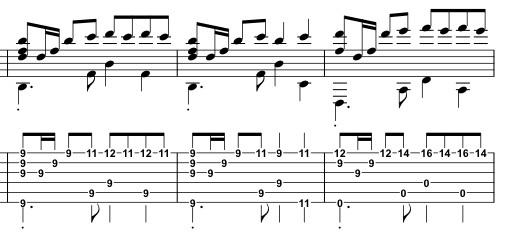 قطعات روی خطوط حامل همراه با تبلچر برای گیتار
